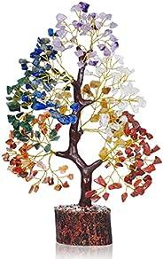 PREK 7 Seven Chakra Crystal Natural Gemstone Bonsai Money Tree for Reiki Healing Good Luck, Home Office Decor
