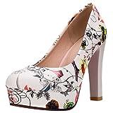 CularAcci Mujer Moda Tacon Alto Zapatos De Tacon Flor Plataforma Zapatos Green Size 39 Asian