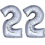 DekoRex® Folienballon Zahlenballon Heliumballon Luftballon Geburtstag Deko 120cm Zahl Silber 22