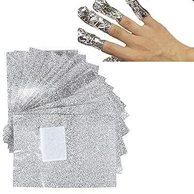 BUYCHEAPDG 100 PCS Silver Aluminium Foil Nail Wraps Acrylic Gel Polish Remover