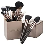 SIXPLUS Pinselset Kosmetik 15-teiliges Professionelles Make up Schminkpinsel Foundation Concealer Gesicht Lidschattenpinsel, mit Magnetische Make-up Pinsel Behälter in Braun