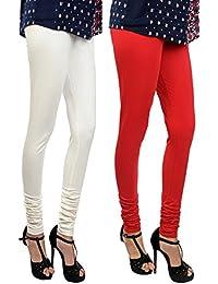 Her Rang Women's Chudidar Leggings, Combo Pack Of 2, Off White And Red