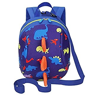 Alxcio Toddler's Cute Dinosaur Backpack with Safety Leash, Nursery Bags for Toddler 1-3 Years