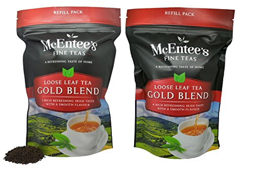 McEntee's Irish Loose Leaf Gold Blend Tea - ( Pack of 2 ) - 250g Refill Bag - Expertly Blended in Ireland to give That Perfect Cup of Tea. A Traditional Irish Blend of Assam and Kenyan Tea.