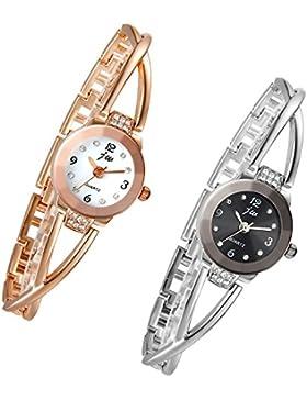 Lancardo 2pcs Damen Armbanduhr, Manschette Damenuhr mit Strass, Spangenuhr Armkette Uhr Armreif Analog Quarzuhr...