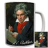 Ludwig van beethoven portrait toile signature en albâtre du compositeur de vienne sur l\'histoire de la musique classique-tasse café 6531