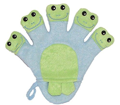 2 in 1: Waschhandschuh + Handpuppe 5 Finger Frosch für Kinder - Handspielpuppe Frottee Tier Baby Waschlappen