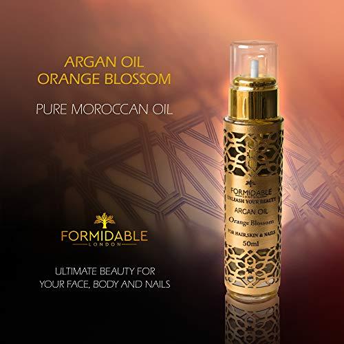 Huile d'argan à la fleur d'oranger - Huile dorée secrète marocaine pour cheveux, corps et visage (tous types de peaux), convient également pour les ongles Huile d'argan pure, de qualité supérieure, certifiée bio, 50 ml