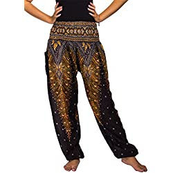 Lofbaz las mujeres Pantalones Harem Boho de cintura alforzada Peacock 1 Negro 2XL