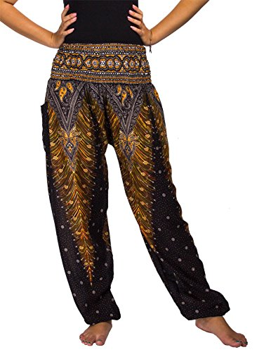 Hippie Kostüm Bilder - Lofbaz Damen Haremshose mit gesmoktem Buntes Pfauenmuster 1 Schwarz M