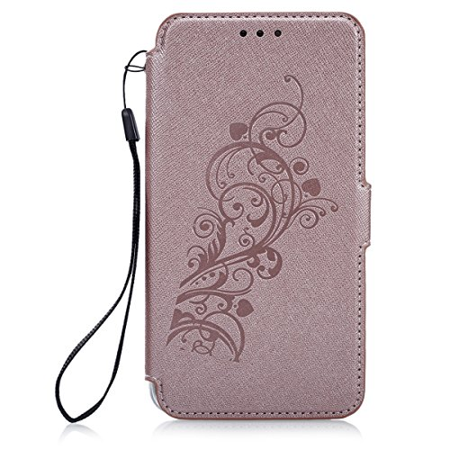[iPhone 5/5S/SE] Coque, ETSUE - étui Folio en Ultra Slim Mince Flip PU Cuir pour iPhone 5/5S/SE, Créatif Simple Book Style Cover Coque Transparente TPU Intérieur avec Porte cartes avec Support Protect Or Rose