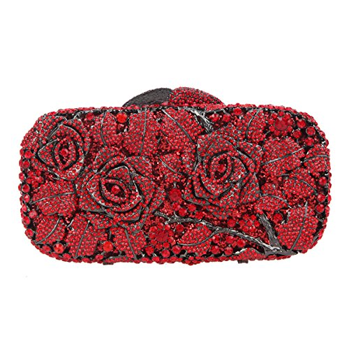 Bonjanvye Floral Clutch Purse for Girls Crystal Rhinestone Handbag Pure Red - Clutch Crystal Red