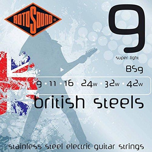 Rotosound Edelstahlsaiten für E-Gitarren, Stärke Super Light 9 11 16 24 32 42 (Rotosound E-gitarre Saiten)