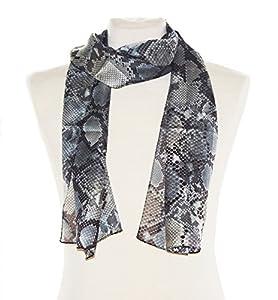 Striessnig Wien - Damen Schal schwarz grau, Schaltuch, schmales Halstuch im Schlangen Design, ca. 36 x 160 cm