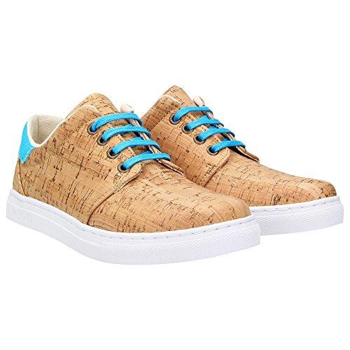 ZWEIGUT® -Hamburg- echt #401 Kork Allwettertauglich Schuhe Damen Halbschuhe Sneaker, vegan + nachhaltig aus echtem Kork, Schuhgröße:38, Farbe:türkis-kork - 2