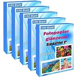 500 Feuille de papier photo brillant 10x15 CM imprimante à jet d'encre 240g/m² cartes photo Immédiatement sec blanc brillant et résistant à l'eau feuilles photo