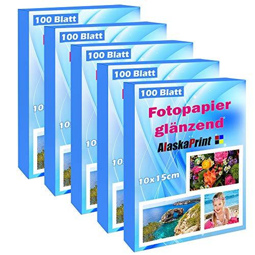500 Blatt fotopapier 10x15 hoch glänzend tintenstrahldrucker 150g/m² Photopapier Fotokarten Photokarten Sofort Trocken Wasserfest Hochweiß 10 Blättern