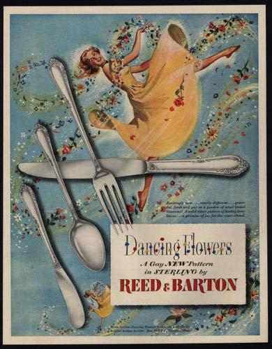 1950 Reed & Barton Dancing Flowers - Gay New Silverware Pattern - Vintage AD Vintage Reed Barton