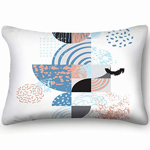 dfgi modern Geometric semicircles Circles Abstract Abstract Abstract Abstract Skin Cool Super Soft and Luxury Pillow Cases Covers Sofa Bed Throw Pillow Cover with Envelope Closure 20 * 30 inch