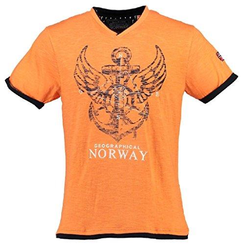 Geographical Norway Herren V-T-Shirt Jiron Herrenshirt Kurzarm Shirt Neu/OVP Mandarine
