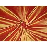 Reine Seide Dupionseide Stoff rot X gelb 137,2cm by the