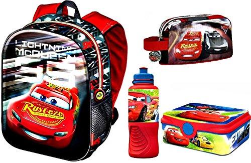 Cars 3 3D Rucksack, Frühstückstasche, Lunchbox und Trinkflasche (Rucksack Mit Lunch Box)