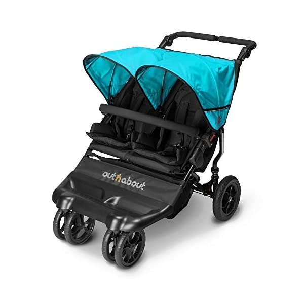 Out n About Little Nipper Double Stroller Marine Blue  Little Nipper Double (Marine Blue) by Out n About - Lightweight twin buggy at only 11kg and suitable for use from Birth Multi-position reclining seats with padded liners and 5-Point harness Independent rear and front wheel suspension with front swivel lock 1