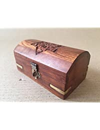 Wooden Utility And Jewellery Box With Antique Design Work (Handcrafted Antique Utility Box) - (5 X 3 X 3.5 Inches)