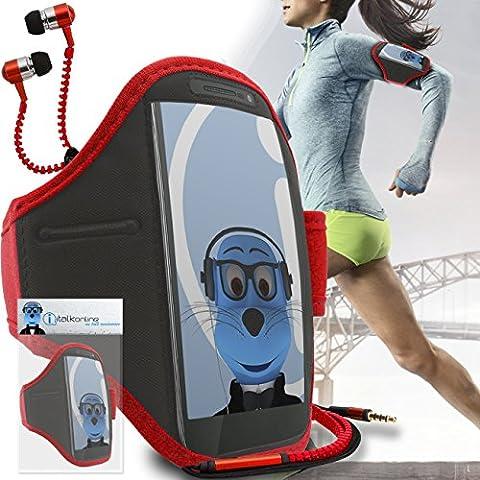 iTALKonline Motorola Droid Turbo 2 Rosso Nero regolabile Acqua / resistente all'umidità Sports GYM Jogging Correre copertura della cassa del bracciale della fascia di braccio con chiave di denaro cuffia Pocket include 3,5 millimetri di ZIP Cuffie Handsfree Mic e On / Off