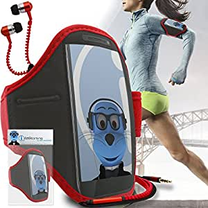 Red Black Adjustable Sports GYM Jogging Running ArmBand Case Cover with 3.5mm Zip Style Headphones For LG E960 Nexus 4