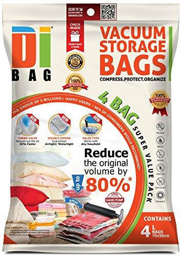 DIBAG - Bolsas de almacenaje al vacío de ropa para ahorrar espacio. 4 medianas (70x50cm) bolsas ahorradoras de espacio para viaje . Para ropa de cama, almohadas, mantas, cortinas y edredones