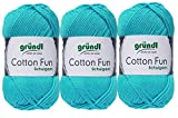 3x50 Gramm Gründl Cotton Fun Häkelgarn Schulgarn aus 100 % Baumwolle + 1 Anleitung für ein Meerschwein (30 Türkis)