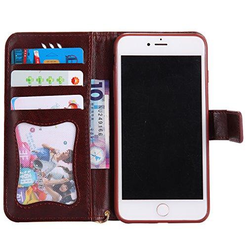 iPhone 7 Plus Hülle Flip-Case Premium Kunstleder Tasche im Bookstyle Klapphülle mit Weiche Silikon Handyhalter Lederhülle für Apple iPhone 7 Plus (5.5 Zoll) Luminous Mädchen Katze case Hülle +Stöpsel  5
