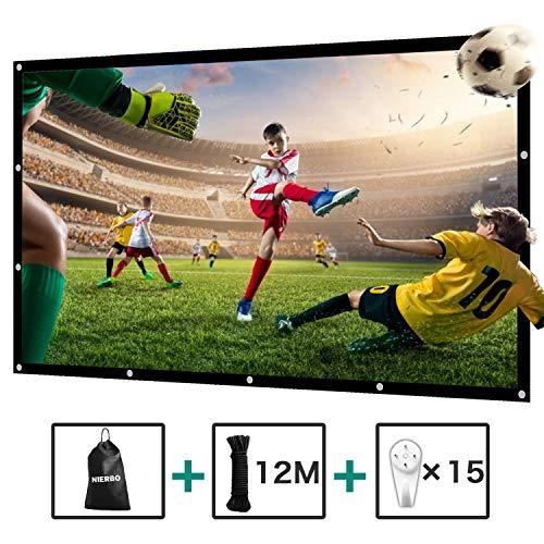 Beamer Leinwand 120 Zoll NIERBO 290x163cm 16 9 faltenfrei tragbar Beamer Screen Projektorleinwand unterstützt die Vorder- und Rückprojektion 4K HD 3D Projektionsfläche Beamer mit Seil und Haken