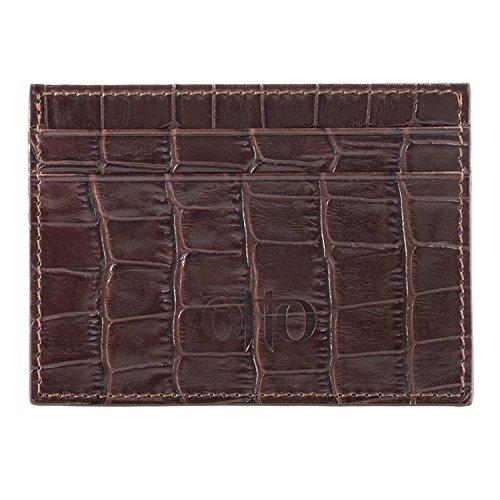 OTTO Dünn Echtes Leder Kartenhalter Brieftasche für Männer - Mehrere Schlitze für Kredit, Lastschrift, Bank und Business-Karten, Geld und Führerschein - RFID Schutz (Muster dunkelbraun)