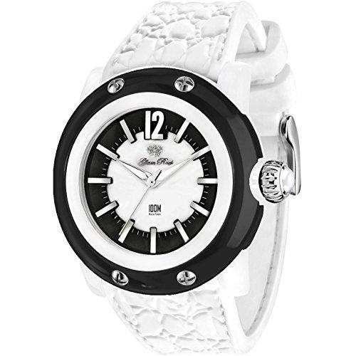Glam Rock Unisex Miami Beach 46mm White Silicone Band Polycarbonate Case Quartz Black Dial Watch GR2400