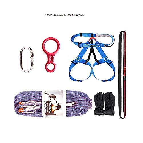 Corde d'escalade Kits extérieurs de survie, équipement de câble de baisse de crique de caverne de corde de sécurité de corde de descente descendant le kit de survie s'élevant pour multi-but pour la pr