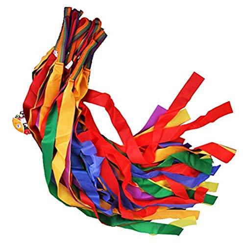 Mein Ji 12 Stück Kinder Hand-Tanzband Glänzend Regenbogen Streamer Professionelle Gymnastik Werkzeug Rotationsband Profi