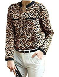 Malloom® Nueva Mujer leopardo V-Cuello manga larga gasa camisas Blusas ocasionales delgados