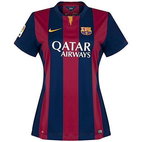 Nike 2014-2015 Barcelona Home Ladies Football Soccer T-Shirt Camiseta