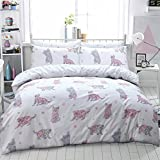 Eirene Threadz Ellephant & Cat & Unicorn Printed Polycotton Duvet Cover Sets with Pillow Cases Bedding Sets (Single, Cat Multi)