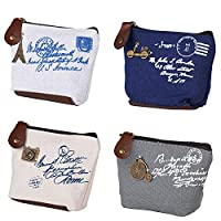 BETOY 4 pcs Mini Canvas Coin Purse Women Wallet Coin Bag Pouch Holder Small Cute Storage Bag for Keys Headset Lipstick Card