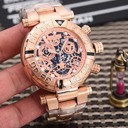 ZCCZJBXS Luxury Men Watch Quartz Chronograph Stopwatch Sapphire Reserve Stainless Steel Luminous Skeleton Rose Gold Waterproof Rose Gold