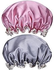 Mudder 2 Pack Femme Bonnet Étanche de Bain Élastique Spa Douche Casquette Double Couche