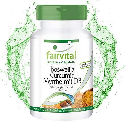 Boswellia Tabletten mit Curcumin, Myrrhe und Vitamin D3 - HOCHDOSIERT - 120 Tabletten