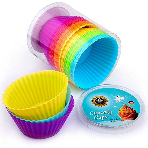24-pc-premium-silicone-cupcake-cases-muffin-moulds-reusable-non-stick-muffin-cake-liners-perfect-for