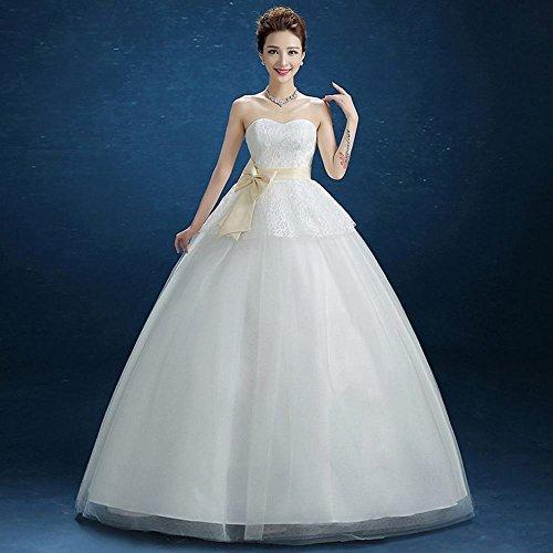 AN Tube Top Schlank Hochzeitskleid Elegant Sweet Prinzessin Qi Thin Hochzeitskleid,Weiß,XL