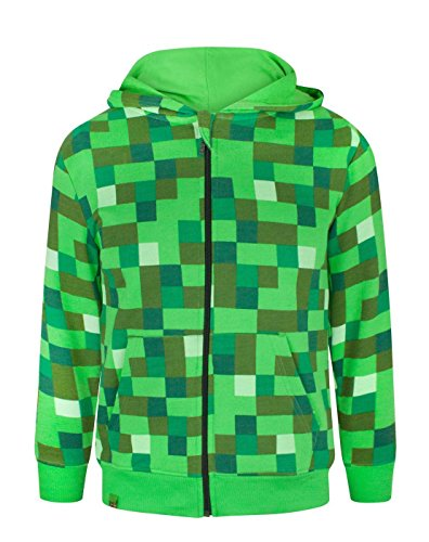 Minecraft Childrens/Boys Creeper Character Hoodie (Años (11-12)/Verde)