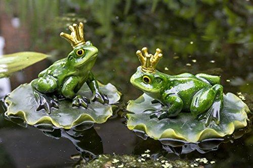 Frosch Froschkönig auf Blatt Schwimmtier Teich Kunstharz Teichfigur Gartenfigur Schwimmfigur Stückpreis