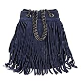 OBC Made in Italy Damen Leder Tasche Fransen Shopper Kettentasche Beutel Wildleder Handtasche Umhängetasche Bucket Bag Schultertasche Ledertasche (Dunkelblau 20x25x19 cm)